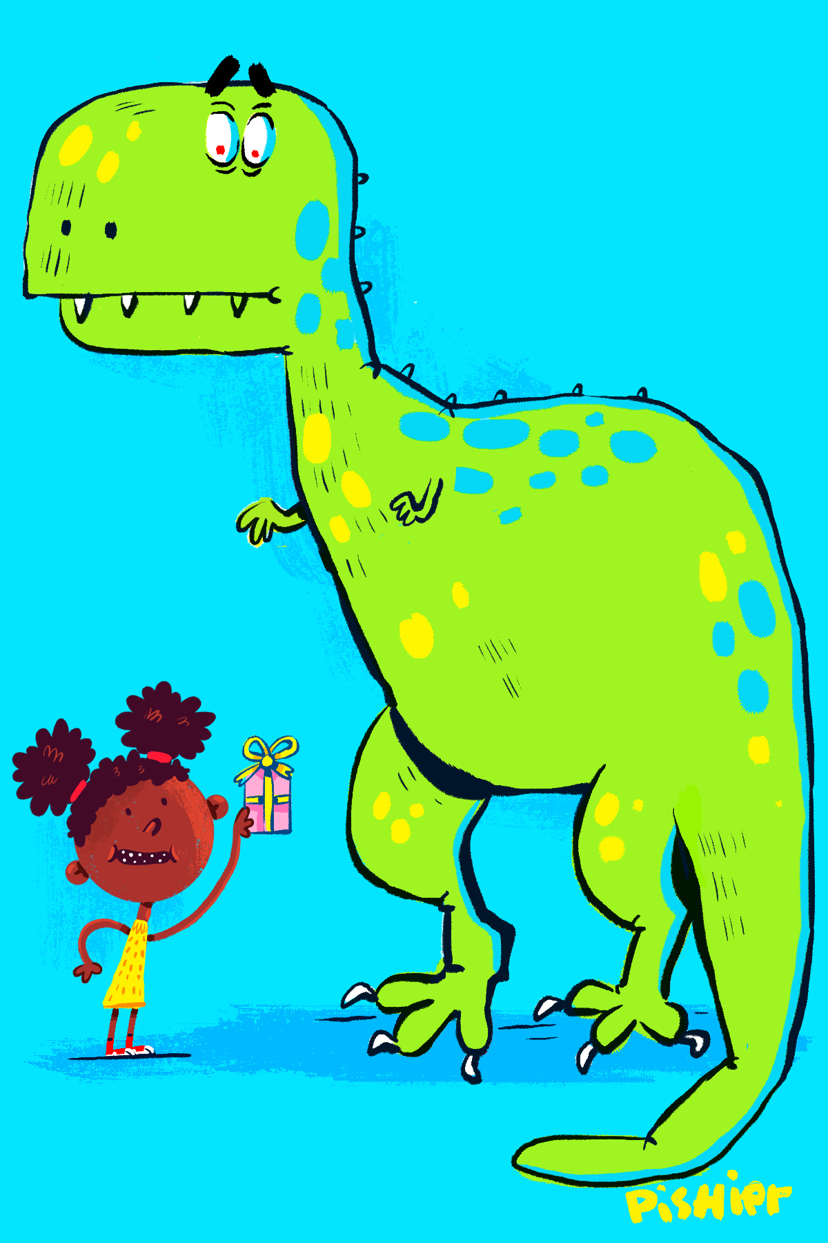 T-Rex party ! illustration for birthday card
