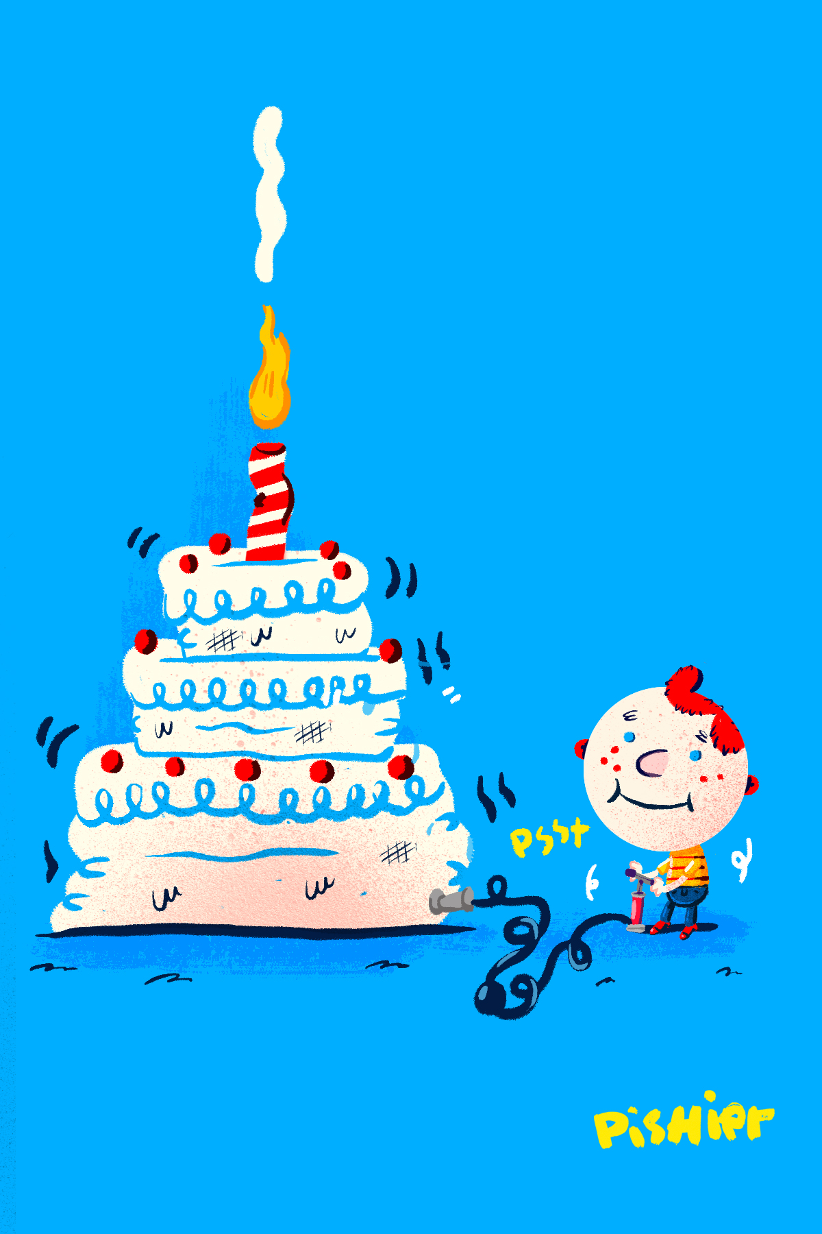 inflatable cake ! illustration for birthday card